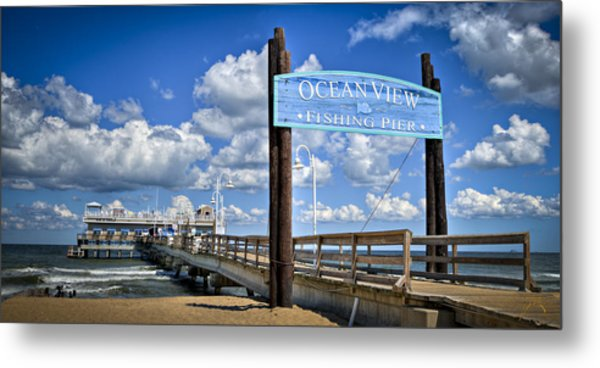 Ocean View Fishing Pier Color Metal Print by Williams-Cairns Photography LLC