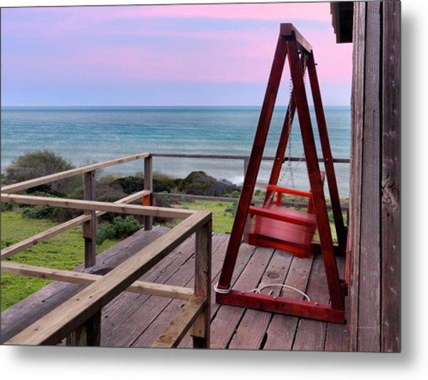 Ocean View Seat Metal Print by Leland D Howard