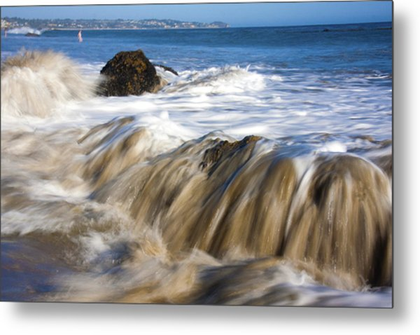 Ocean Waves Breaking Over The Rocks Photography Metal Print