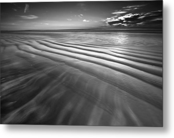 Ocean Waves Seascape Beach Sunrise Photograph In Black And White Metal Print