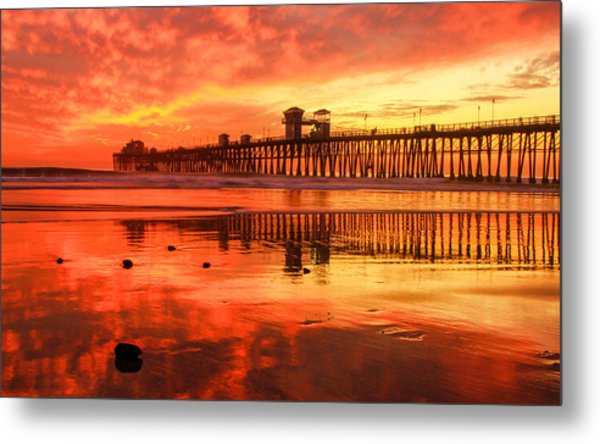 Oceanside Fire Metal Print