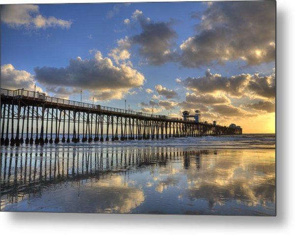 Oceanside Pier Sunset Reflection Metal Print