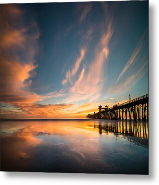 Oceanside Reflections 3 Square Metal Print by Larry Marshall