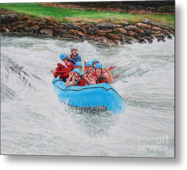 Metal Print featuring the painting Ocoee River Rafting by Mike Ivey
