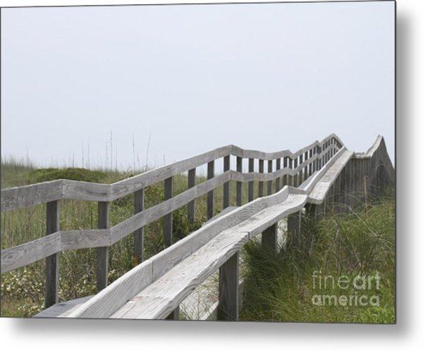 Ocracoke Boardwalk Metal Print by Cathy Lindsey