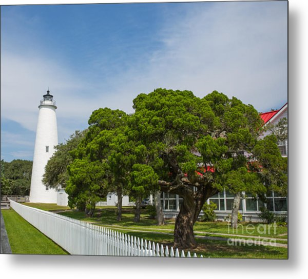 Ocracoke Lighthouse And Light Keeper's House Metal Print