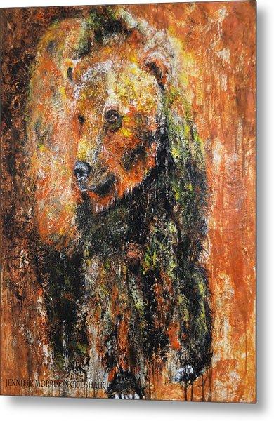 Abstract Bear Painting October Bear Metal Print