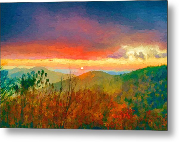 October Sunrise Painting On The Blue Ridge Parkway Metal Print