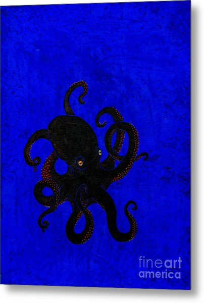 Octopus Black And Blue Metal Print