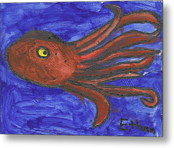 Octopus In The Deep Blue Metal Print by Fred Hanna