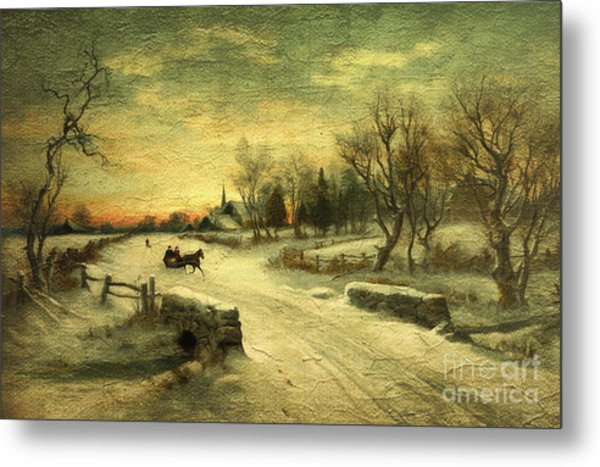 Off To Grandmas - Christmas Morning Metal Print
