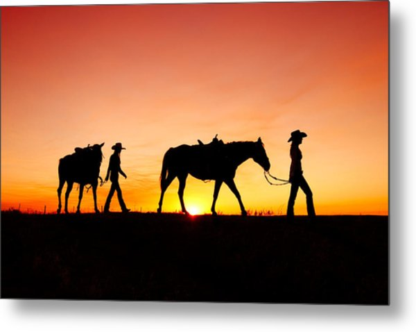 Off To The Barn Metal Print