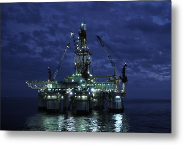 Offshore Oil Rig At Night Metal Print