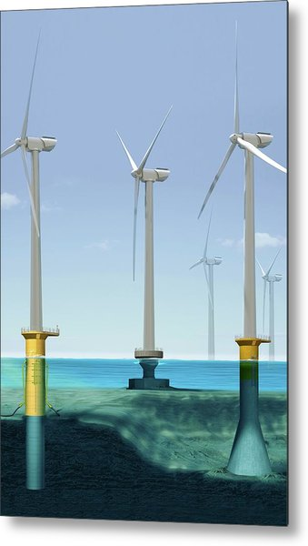 Offshore Wind Farm Metal Print by Claus Lunau/science Photo Library