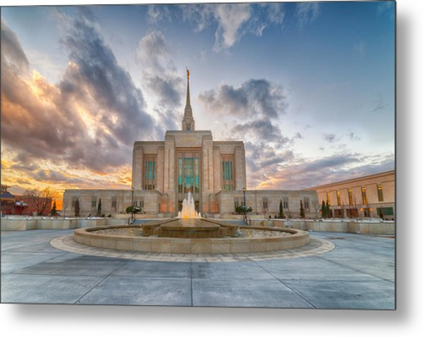 Ogden Temple Fountain Metal Print