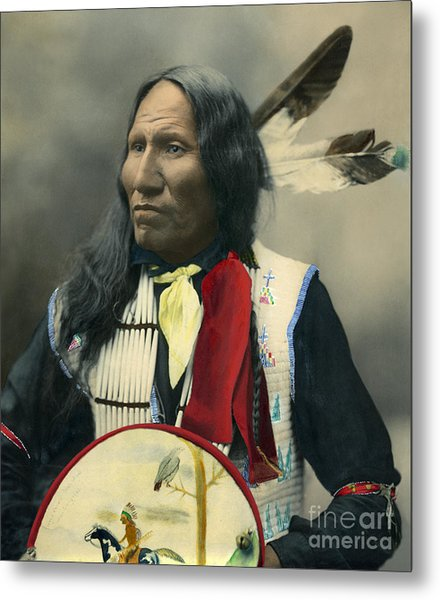Metal Print featuring the photograph Oglala Chief Strikes With Nose 1899 by Heyn Photo