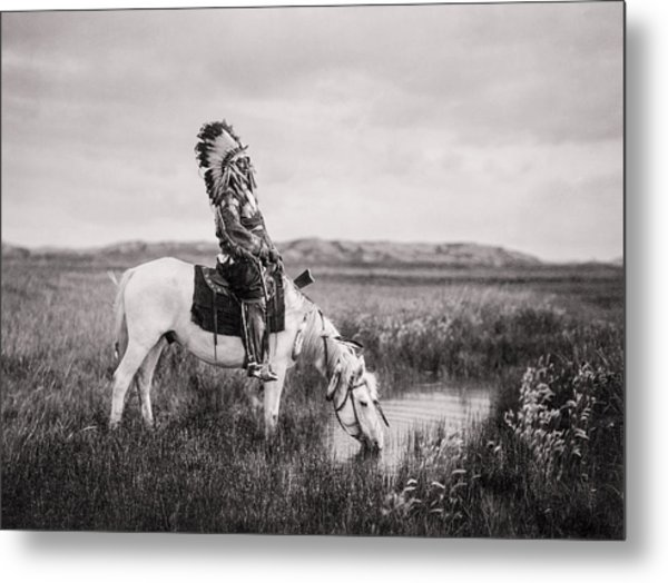 Oglala Indian Man Circa 1905 Metal Print