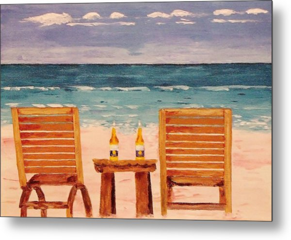 Two Corona's And A Beach Metal Print