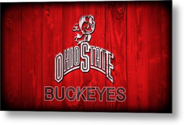 Ohio State Buckeyes Barn Door Vignette Metal Print