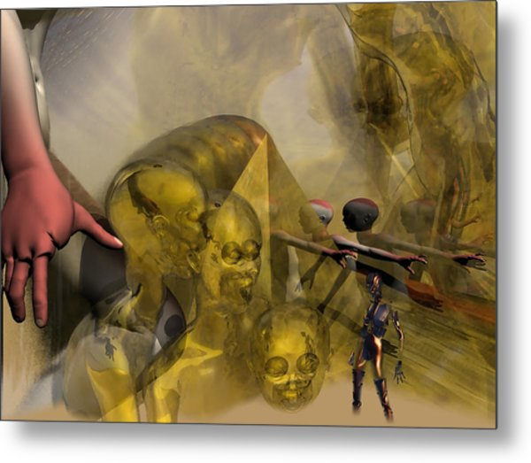 Oil Child Abduction To Pleiades #49_hr Metal Print by Stephen Donoho