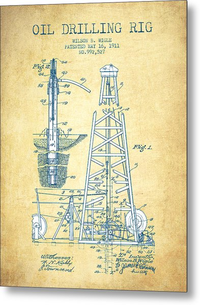 Oil Drilling Rig Patent From 1911 - Vintage Paper Metal Print