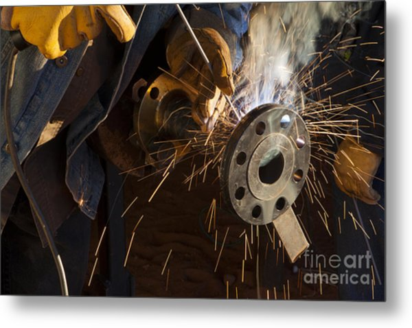 Oil Industry Pipefitter Welder Metal Print