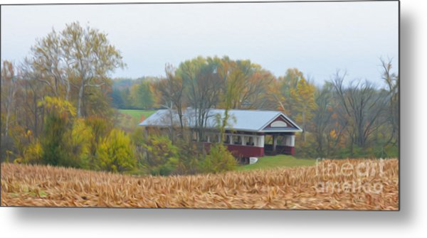 Oil Painted Covered Bridge Metal Print by Brian Mollenkopf