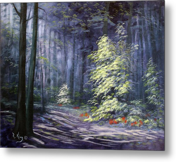 Oil Painting - Forest Light Metal Print