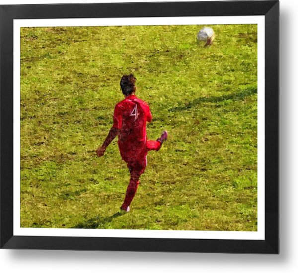 Oil Painting Of Soccer Player Metal Print by John Vito Figorito