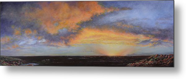 Oil Painting When The Sky Turns Color Metal Print