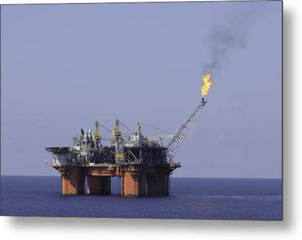 Oil Production Platform With Flare Metal Print