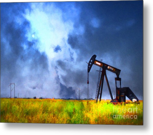 Metal Print featuring the photograph Oil Pump Field by Wingsdomain Art and Photography