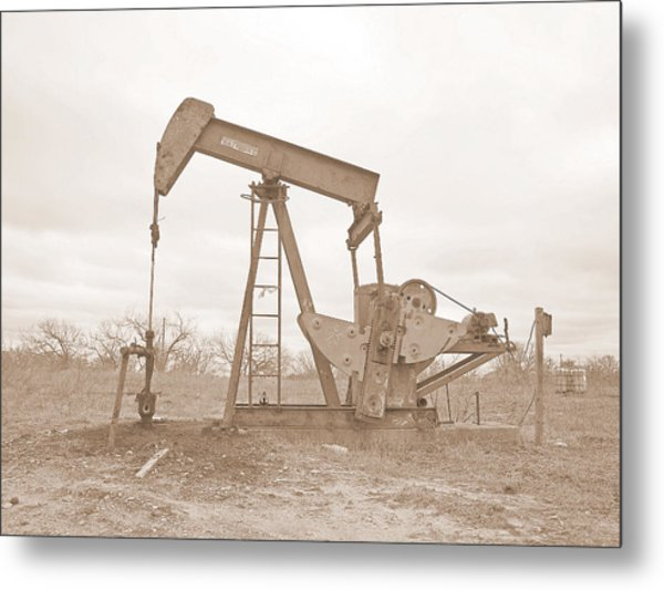 Oil Pump In Sepia Metal Print
