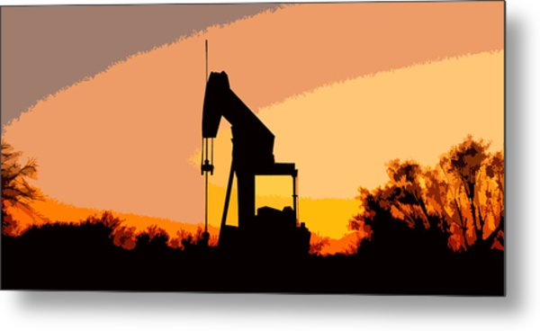 Oil Pump In Sunset Metal Print
