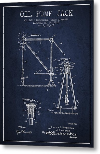 Oil Pump Jack Patent Drawing From 1916 - Navy Blue Metal Print