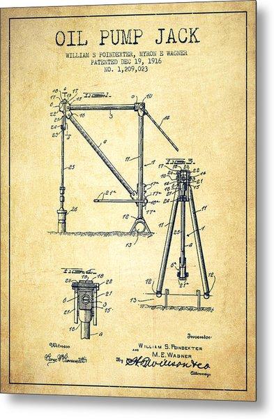 Oil Pump Jack Patent Drawing From 1916 - Vintage Metal Print