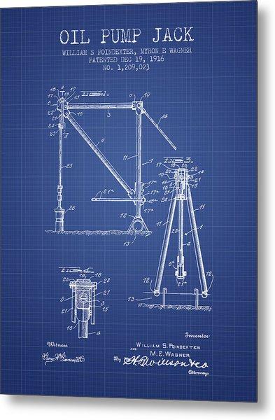 Oil Pump Jack Patent From 1916 - Blueprint Metal Print