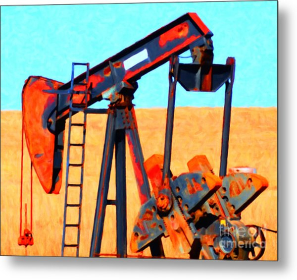 Metal Print featuring the photograph Oil Pump - Painterly by Wingsdomain Art and Photography