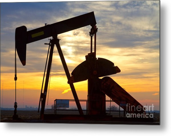 Oil Pump Sunrise Metal Print