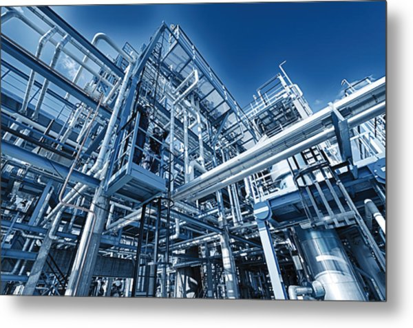 Oil Refinery And Pipelines Construction Metal Print