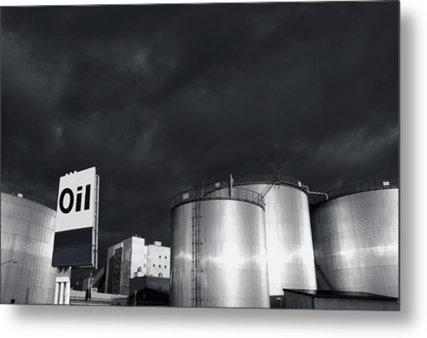 Oil Refinery At Sunset With Commercial Sign Metal Print