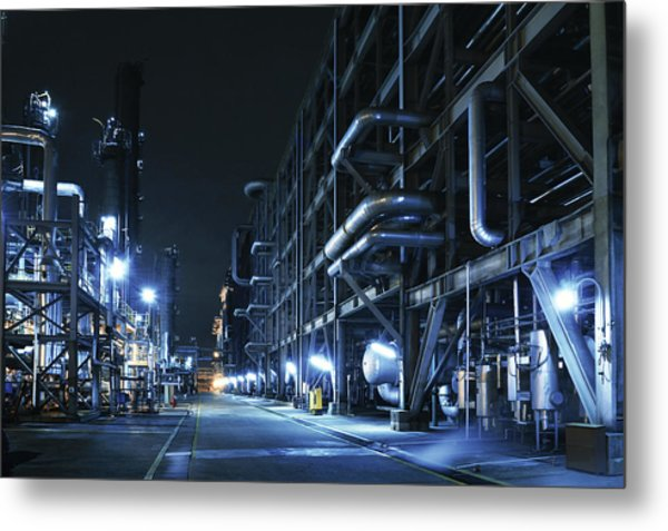 Oil Refinery, Chemical & Petrochemical Metal Print by Zorazhuang