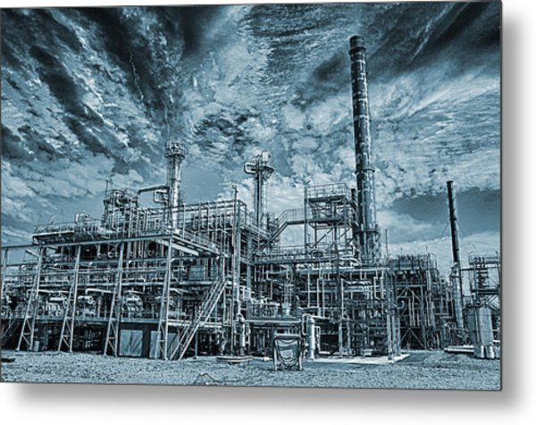 Oil Refinery In High Definition Metal Print