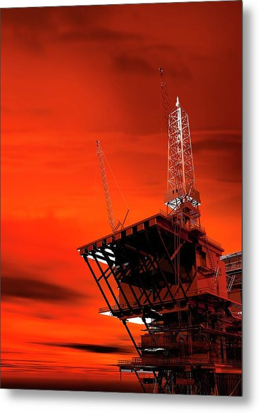 Oil Rig Metal Print by Victor Habbick Visions