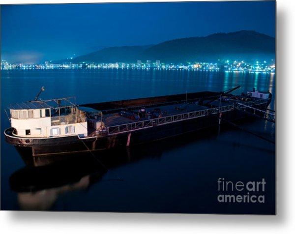 Oil Tanker At Night Metal Print by Ciprian Kis