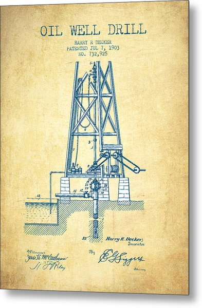 Oil Well Drill Patent From 1903 - Vintage Paper Metal Print