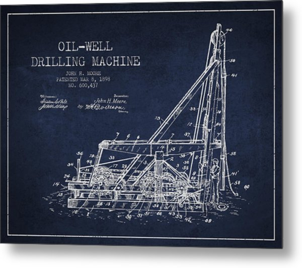 Oil Well Drilling Machine Patent From 1898 - Navy Blue Metal Print