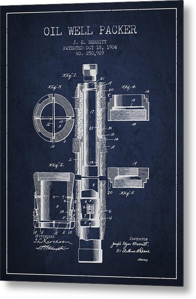 Oil Well Packer Patent From 1904 - Navy Blue Metal Print