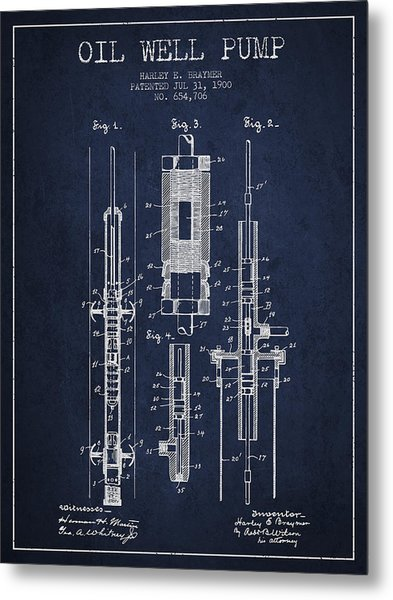 Oil Well Pump Patent From 1900 - Navy Blue Metal Print