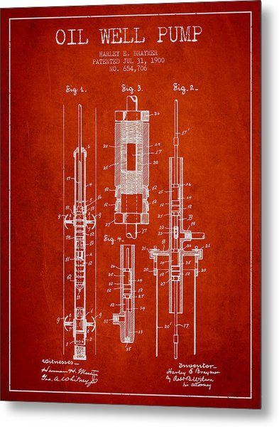 Oil Well Pump Patent From 1900 - Red Metal Print